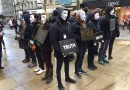 """Masked vegan activists carry out """"Cube of Truth"""" demonstration in Sheffield"""