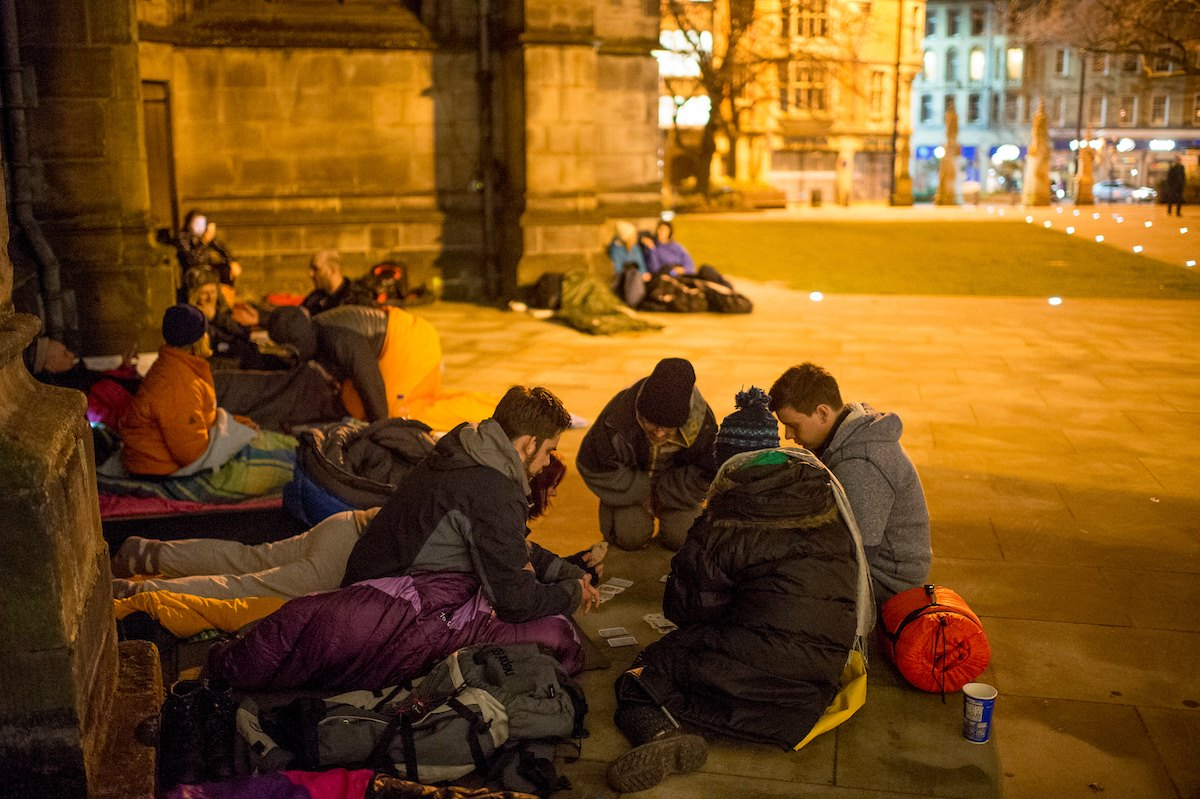 Attendees at 2016's 'sleep out' event, in aid of the Cathedral Archer Project.