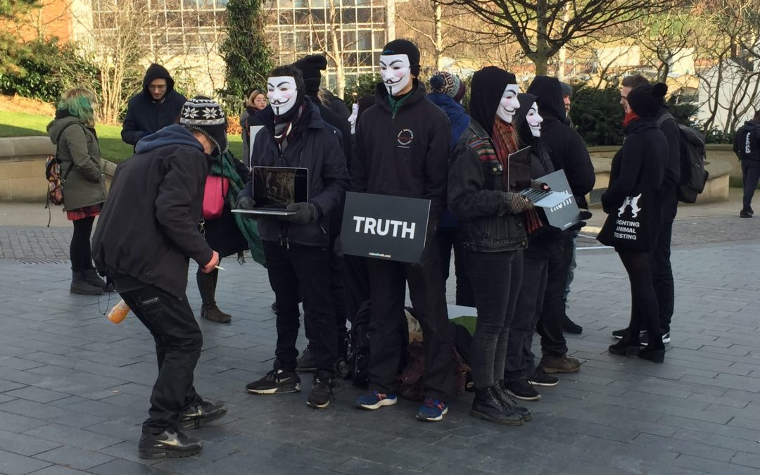 Animal rights organisation protest in Sheffield city streets against the meat industry