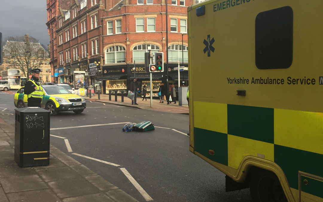 Elderly lady falls in to main road in Sheffield city centre