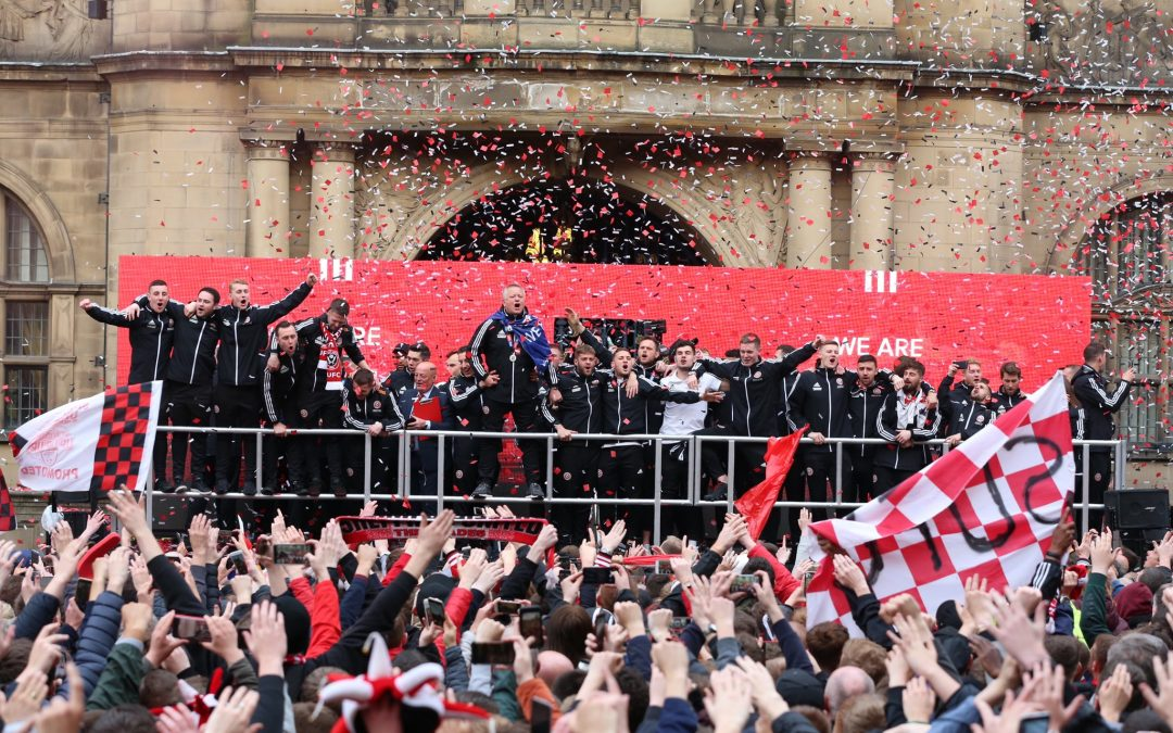 Thousands of people gather to celebrate Sheffield United's promotion to the Premier League