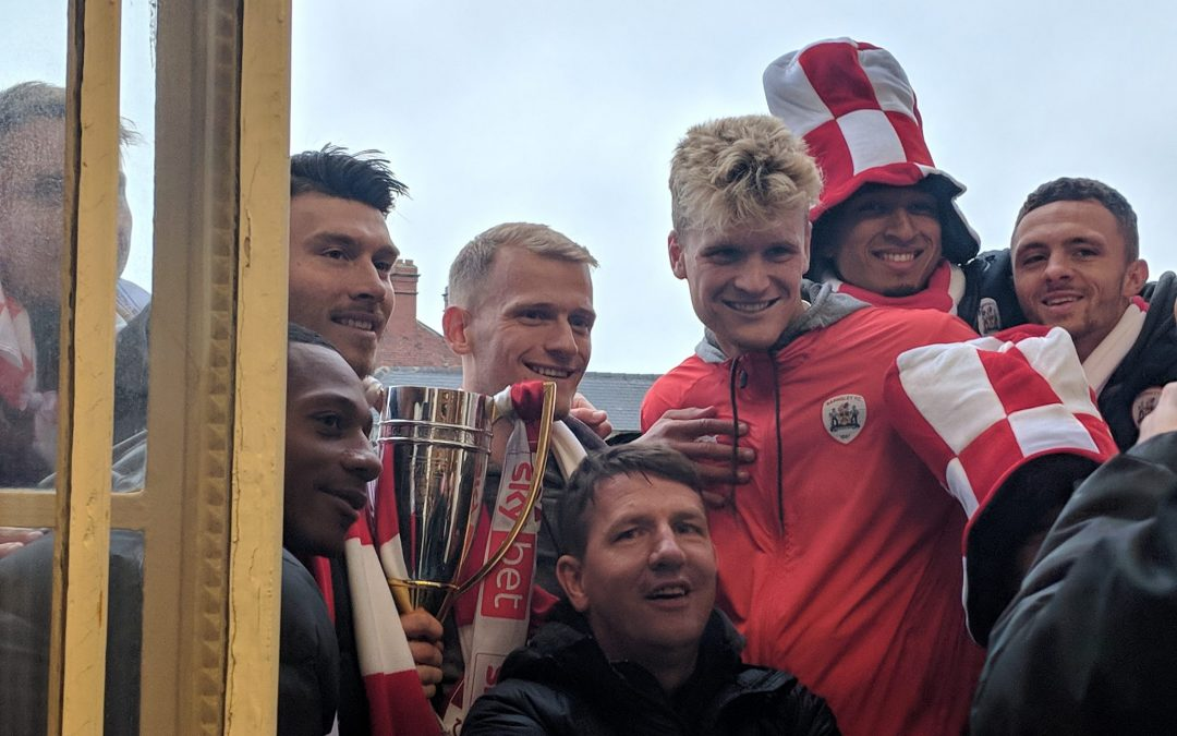 Barnsley celebrate promotion with open bus tour