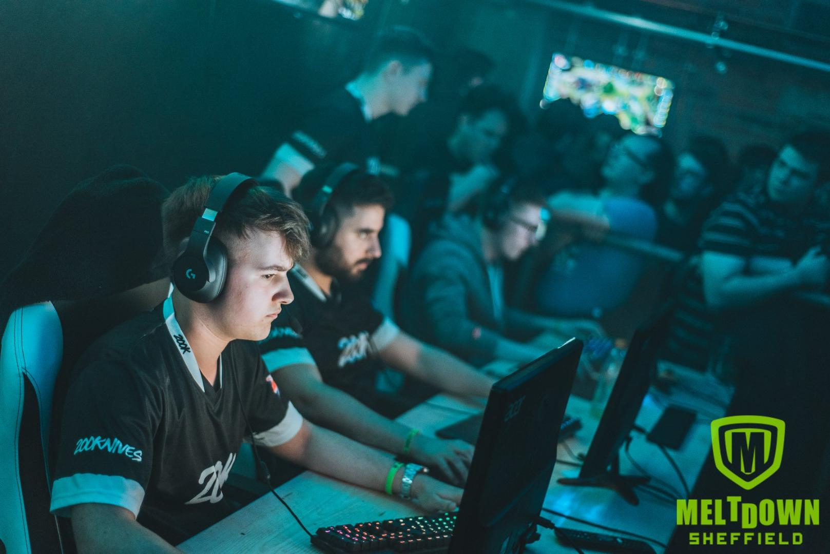 A picture of a group of people competing on a video game at Meltdown eSports Bar Sheffield.