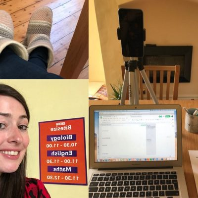 A collage of photos featuring Kimberley Boak from BBC Bitesize working from home
