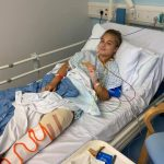 Libby after having surgery for her knee replacement at 16