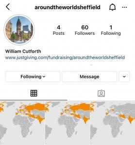 A screenshot of an Instagram account called Around the World Sheffield