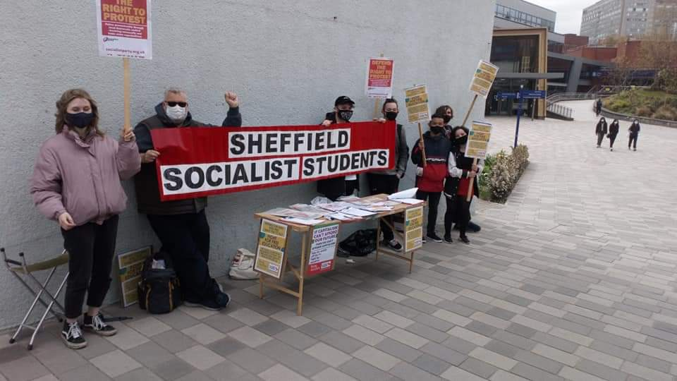 Students protest Covid tuition fees at Sheffield universities