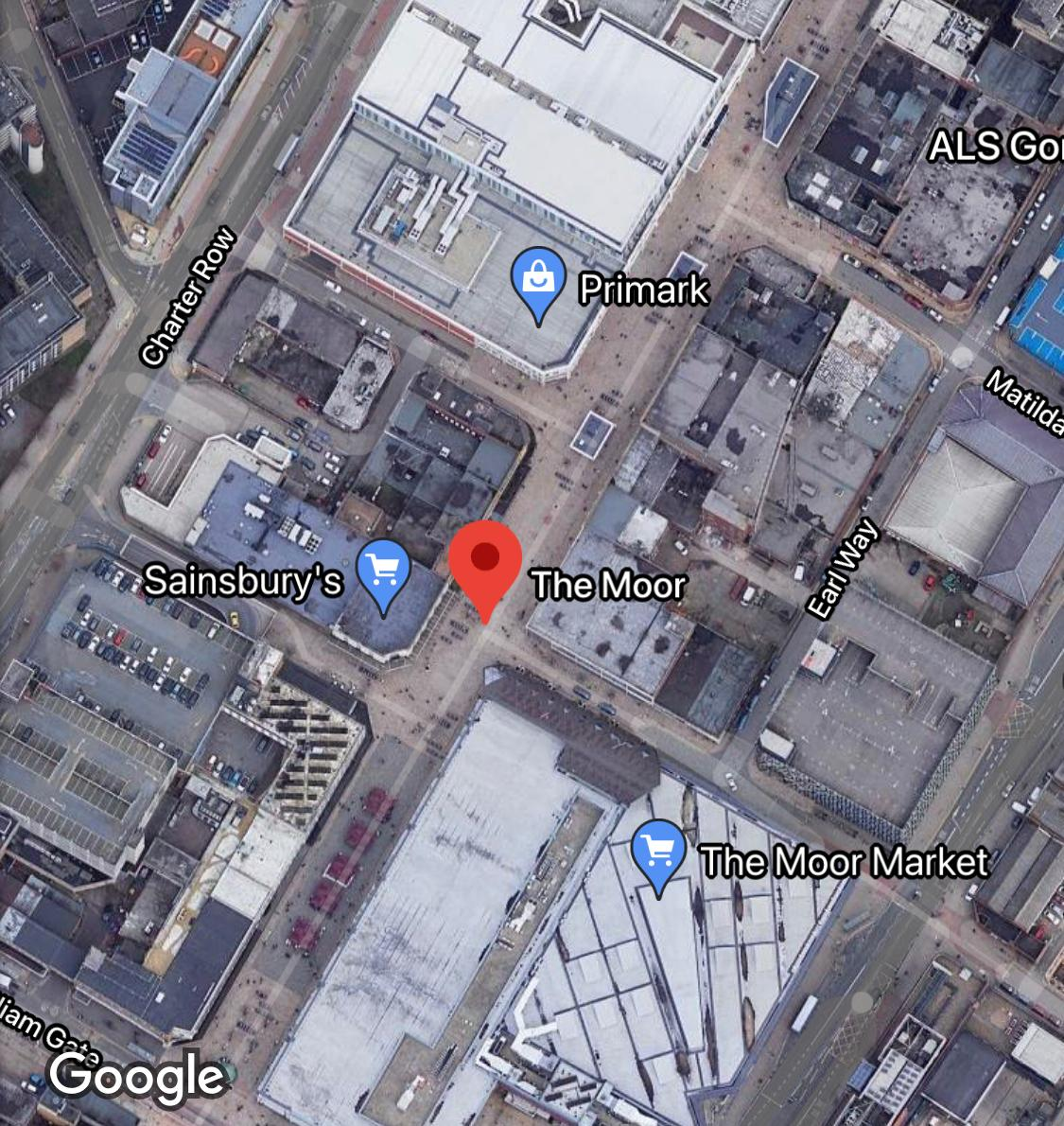 Location of The Moor in Sheffield, marked by a red dot