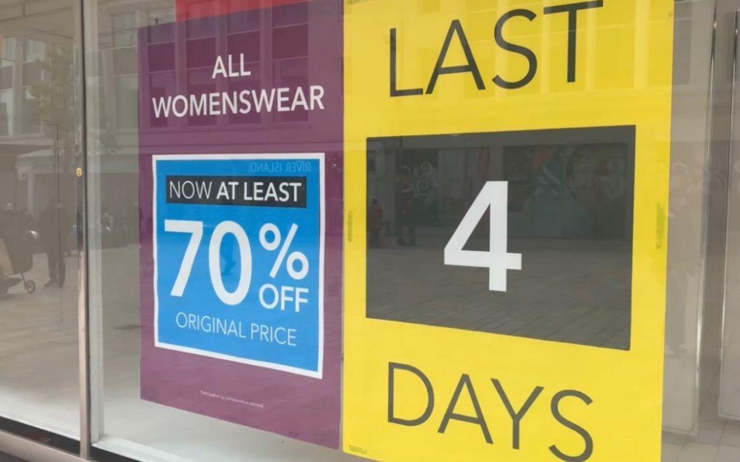 Sheffield's Debenhams store slashes prices before final closure on Saturday