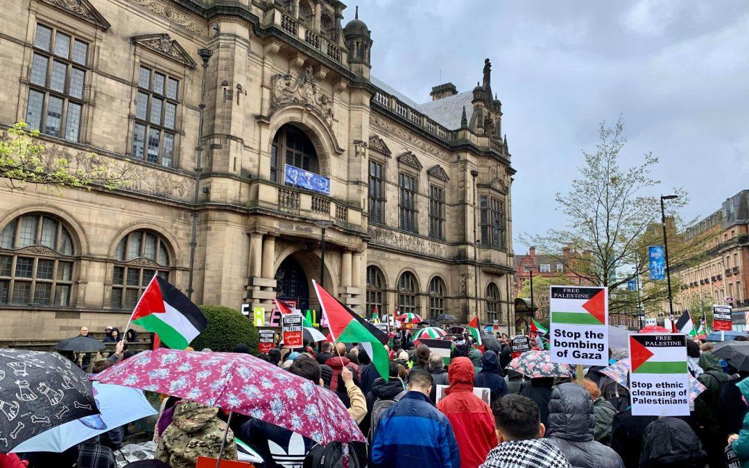 WATCH: Hundreds of pro-Palestine demonstrators rally outside Sheffield Town Hall